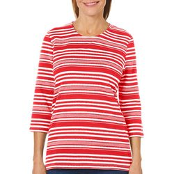 Coral Bay Petite Stripe Print Textured Top