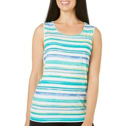 Coral Bay Petite Scratchy Stripe Print Top