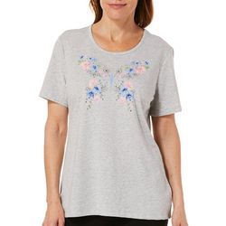 Coral Bay Petite Embellished Floral Butterfly Florida Tee