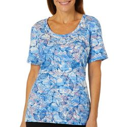 Coral Bay Petite Shell Wave Print Top