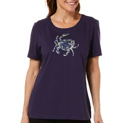 Coral Bay Petite Embellished Crab Scoop Neck Florida Tee