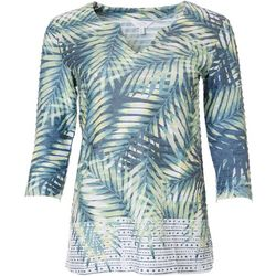 Coral Bay Petite Three Quarter Sleeve Palm Leaf Top