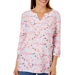 Coral Bay Petite Flamingo Print Textured Tunic Top