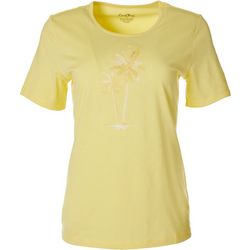 Coral Bay Petite Palm Tree Embroidered Top