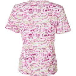 Petite Wavy Stripe Short Sleeve Top