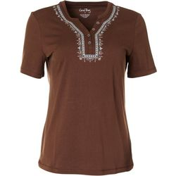 Coral Bay Petite Short Sleeve Solid Henley Top