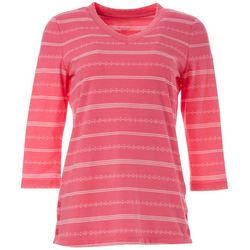 Coral Bay Energy Petite Striped V-Neck Top