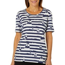 Coral Bay Petite Stripe Sailboat Print Top