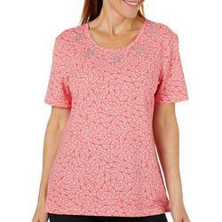 Coral Bay Petite Jeweled Starfish Fan Print Florida Tee