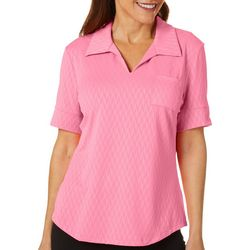 Coral Bay Energy Petite Solid Textured Polo Shirt