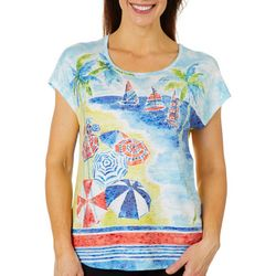 Coral Bay Petite Beach Print Embellished Burnout Top