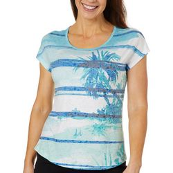 Coral Bay Petite Palm Tree Stripe Burnout Top