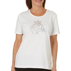 Coral Bay Petite Embellished Boat & Palms Top
