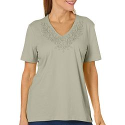 Coral Bay Petite Embroidered Floral V-Neck Top