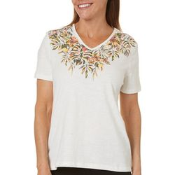 Coral Bay Petite Floral Leaf V-Neck Top
