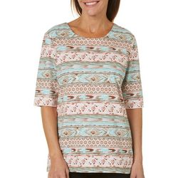 Coral Bay Petite Staycation Tribal Stripe Print Top