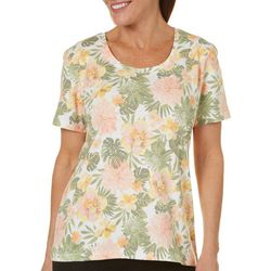 Coral Bay Petite Big Bloom Print Top