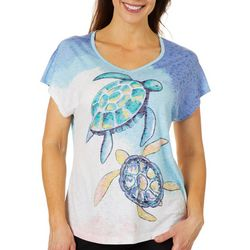 Coral Bay Petite Turtle Print Burnout Top