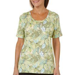 Coral Bay Petite Leaf Print Short Sleeve Top