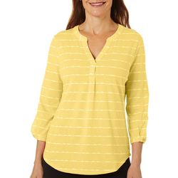 Petite Striped Button Sleeve Split Neckline Top