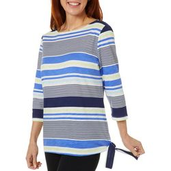 Coral Bay Petite Striped Side Tie Boat Neckline Top