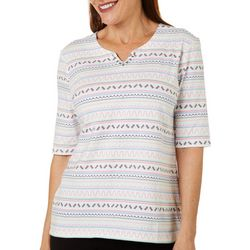 Petite Geo Print Jeweled Short Sleeve Top