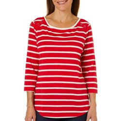 Coral Bay Petite Glitter Striped Button Shoulder Top
