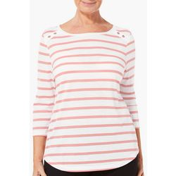Coral Bay Petite Shimmer Striped Button Shoulder Top