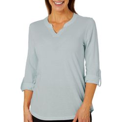 Coral Bay Energy Petite Striped Roll Tab Sleeve Top