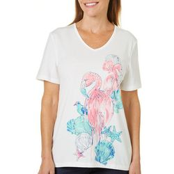 Coral Bay Petite Embellished Flamingo And Friends Top