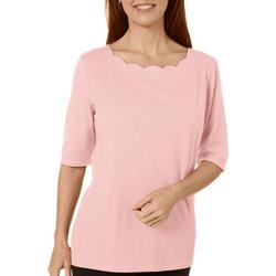 Petite Scalloped Boat Neck Solid Top