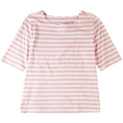 Coral Bay Petite Scalloped Boat Neck Solid Top
