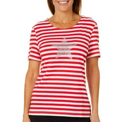 Coral Bay Petite Embellished Stars and Stripe Print Top