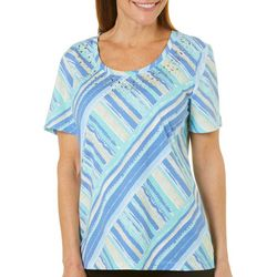 Coral Bay Petite Crossing Stripes Short Sleeve Top