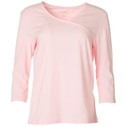 Coral Bay Petite Solid Splice Neck Top