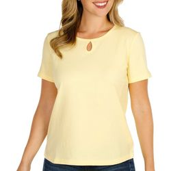 Coral Bay Petite Short Sleeve Solid Keyhole Top