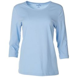 Coral Bay Petite Solid 3/4 Sleeve Round Neck Top
