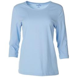 Petite Solid 3/4 Sleeve Round Neck Top