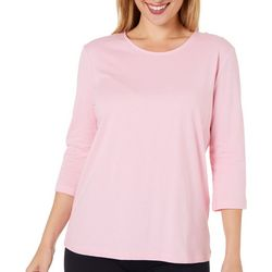 Coral Bay Petite Solid 3/4 Sleeve Boat Neck Top