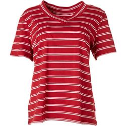Coral Bay Petite Striped V-Neck T-Shirt
