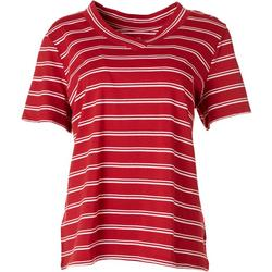 Petite Striped V-Neck T-Shirt