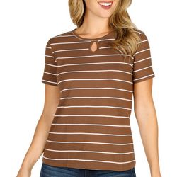 Coral Bay Petite Short Sleeve Stripe Keyhole Top
