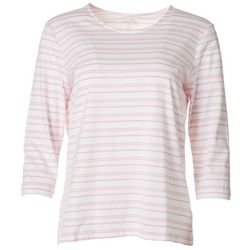 Coral Bay Petite Asymmetrical Striped Everyday Tee