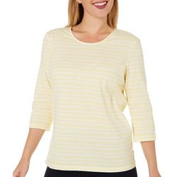 Coral Bay Womens Petite Striped Scoop Neck Top