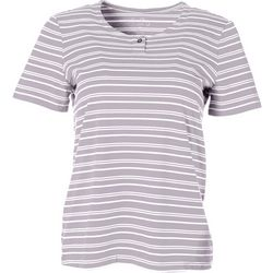 Coral Bay Petite Striped Henley Short Sleeve Top