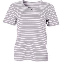 Petite Striped Henley Short Sleeve Top