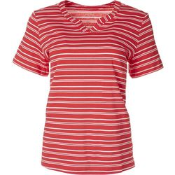 Coral Bay Petite Asymmetrical Striped Short Sleeve Top