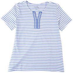 Coral Bay Petite Striped Print Embroidered Neckline