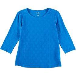 Coral Bay Petite Polka Dot 3/4 Sleeve Top
