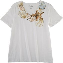 Coral Bay Petite Seashell V-Neck Short Sleeve Top
